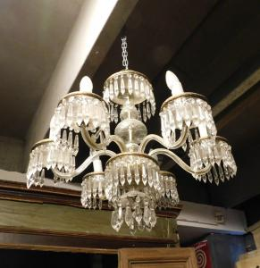 lamp153 liberty chandelier with 6 arms with crystals, mis. cm 55 x 60 h