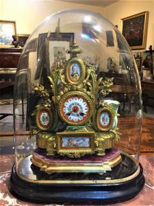 Orologio da tavolo sotto campana di vetro, epoca Napoleone III