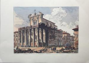 """View of the Temple of Antoninus and Fausina in Campo Vaccino"" - late 19th century - Piranesi engraving print"