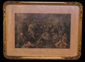 Antique French Napoleon III print with finely carved and gilded frame. 19th century period.