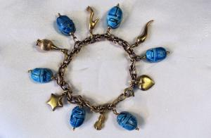 Bracelet with turquoise beetles