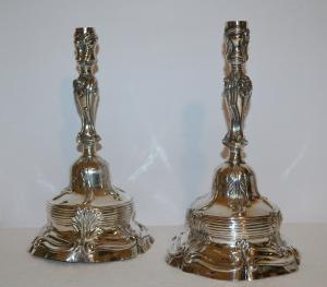 Pair of silver candlesticks Tower 1751