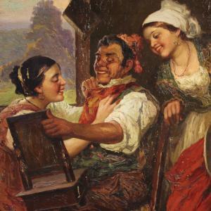 Pintura italiana antigua escena interior del siglo XIX.