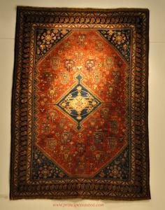 "Fascinating and archaic carpet of the wandering nomads, Khamseh / Quashqai tribe of ""elevated"" committal - perhaps for the tribal chief. Third quarter of the 800"