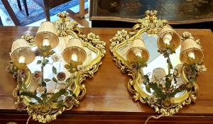 一对Ventoline贴花镜子BAROCCO风格900时代