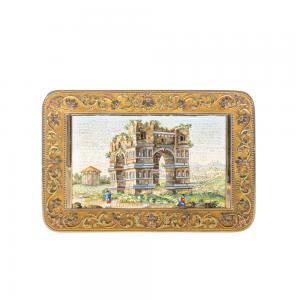 tabacchiera in oro e mosaico