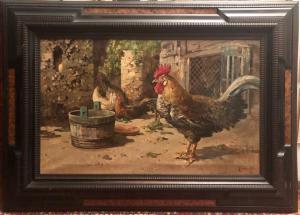 Dipinto olio su tela Gallo e galline in un pollaio.Firma Giordano Felice.Napoli (1880-1964)