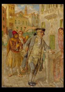 Vittorio Emanuele Bressanin (Musile di Piave 1860 - Venedig 1941) - Animierte Szene in Venedig