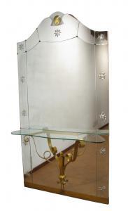 Espejo grande con consola de los años 50 Diseñador: Pier Luigi Colli para Cristal Art