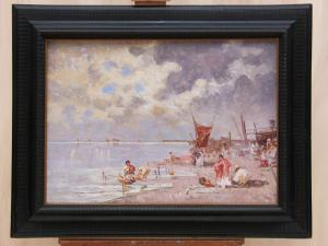 威尼斯泻湖,签名的比亚乔·米兰尼斯(Biagio MILANESE,1886-1968年),布面油画