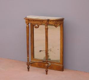 Mobile console st.Luigi XVI dorata, piano marmo, piccole dimensioni, H 89 cm!