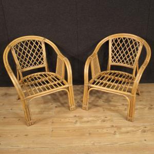 Pair of Italian wicker armchairs