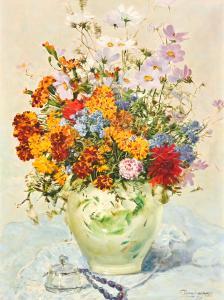 "Ottorino Campagnari的""花卉静物""布面油画,Ottorino Campagnari的""花卉静物""布面油画"