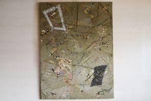 """画布上的抽象人物混合技术绘画Gianni Del Bue 1978题为""""那些绝望的费拉拉工作室"""""""