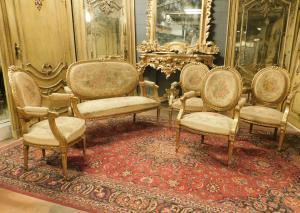 panc90 - salotto composto da quattro poltrone e un divano, seconda metà XIX seco