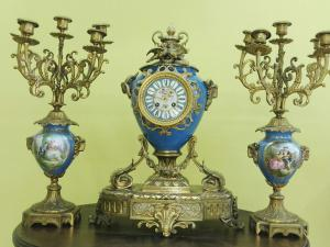 Triptych clock with candlesticks