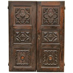 Pair of Baroque Walnut Doors, Suitable for Wall Cabinet or Particular Partition