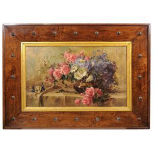 Trionfo di rose e fiori in una grande particolare cornice Déco