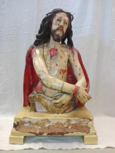 Scultura lignea Cristo Ecce Homo policroma del XVIII° secolo