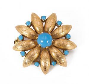 Brosche aus 18 Karat Gold mit 40er Türkis