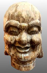Cabeza de Buda de madera antigua - Dinastía Ming del siglo XVII