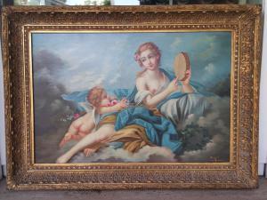 Pintura al óleo sobre lienzo firmada por el artista italiano de principios de los años 900.