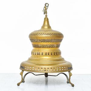 Grande braciere indiano in ottone, Large Indian brass brazier
