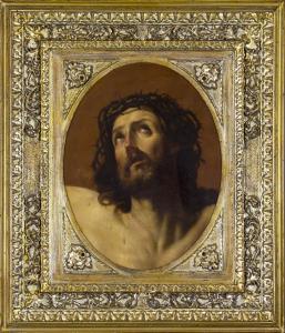 在描绘基督的帆布的油画