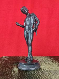 Grand Tour Bronze Sculpture Narcissus H 27 Cm. 19th Century