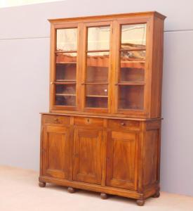 Libreria vetrina credenza doppia con alzata tre ante, noce, '800 - L 167,5 cm!