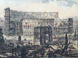 """Stampa Piranesi F. - """"Colosseo e Arco di Costantino"""""""