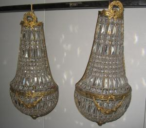 Pair of vintage Mongolfiera Empire style wall lamps