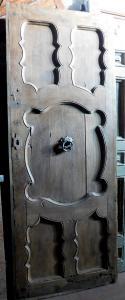 ptci506 - porta em nogueira com painéis ondulados, cm l 91 xh 235