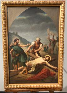Dipinto olio su tela raffigurante scena della Via Crucis.