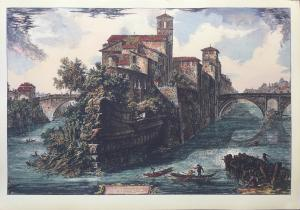 """View of the Tiber Island"" - late 19th century - Piranesi engraving print"