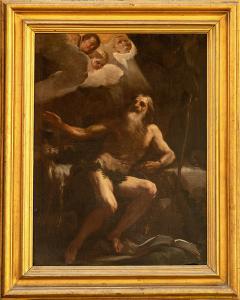 Sant'Onofrio anacoreta - Pittore della seconda metà del XVII secolo molto vicino a Giacinto Brandi (Roma, 1621 –1691) su splendida cornice coeva