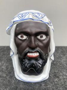 陶器鼻烟壶描绘阿拉伯头.Laveno陶瓷公司。