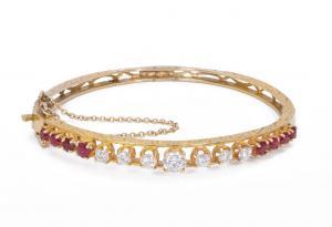 Vintage Goldarmband mit Diamanten (1,4 ct) und Rubinen, 50er Jahre