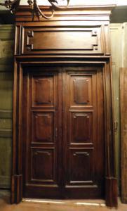 ptci522 - Walnusstür komplett mit Portal, 18. Jahrhundert