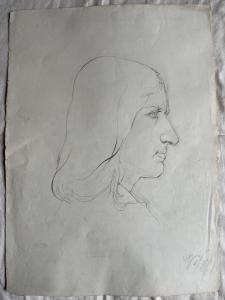 Pencil drawing on paper, profile of a Renaissance man.Federico Pietra. 1910.Bologna.