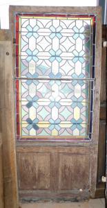 pti635 - porta da restaurare con vetrata liberty, misura cm l 99 x h 220