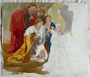 Zeichnungsskizze in Aquarell mit Bleistift auf Papier mit der Heiligen Familie. (Arturo Pietra Archiv). Bologna.