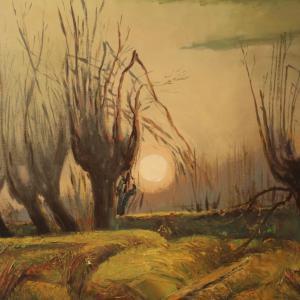 Dipinto italiano firmato paesaggio in stile impressionista