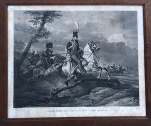 Stampa raffigurante soldati ussari a cavallo.Francia.