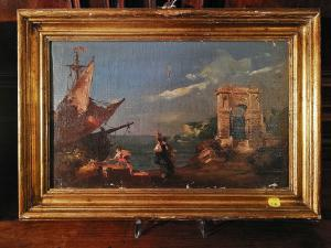 小游艇船坞与古典遗址和亚平宁景观。费拉里(1840-1905)签名的画布上的油。