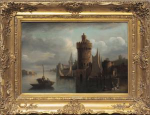 Pintor flamengo, vista do porto com figuras