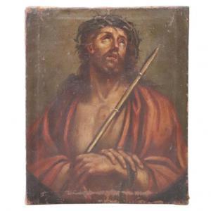 Dipinto antico olio su tela Gesù con la corona di spine sec XVII PREZZO TRATTABILE
