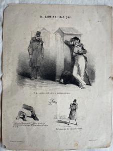 Lithographiedruck mit einem satirischen Thema aus dem Buch: la lanterne magique. Autor D'Aubert. Frankreich