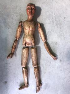 Jointed puppet, male figure in painted wood.Europe