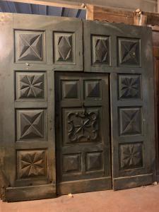 ptn248 - puerta de nogal con puerta central, siglo 17, cm l 280 xh 304